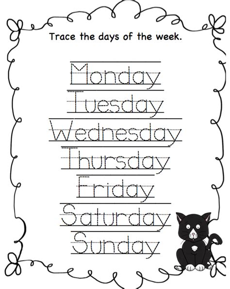 Days Of The Week Worksheet by Days Of The Week Worksheets Printable On Tracing Days Of