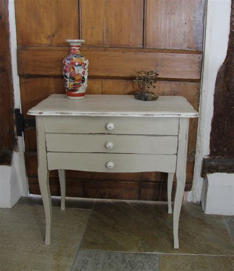 french shabbie chic sewing side table in beige vintage