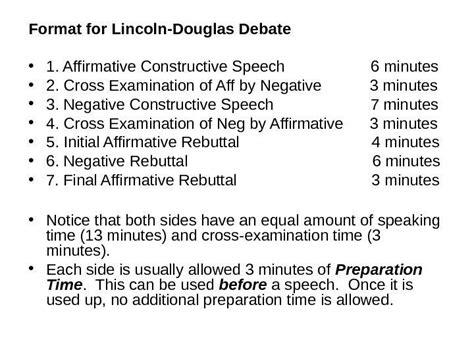 lincoln douglas format lincoln douglas debate an examination of values