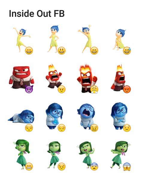 emoji characters inside out inside out fb telegram sticker set stickers