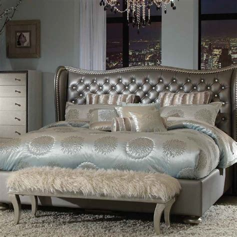 metallic bedroom furniture michael amini hollywood swank metallic graphite bedroom