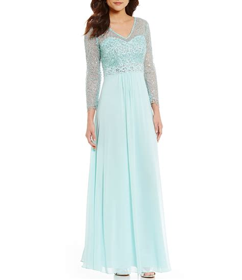 Chiffon Sequin Pouch By Bags To Die For by Decode 1 8 V Neck Sequin Lace Chiffon Gown Dillards
