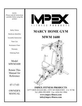 marcy home mwm 1600 impex fitness product catalog