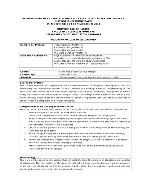 syllabus for standards course