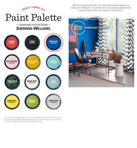 2014 summer color palette from sherwin williams and west elm bold accent colors for