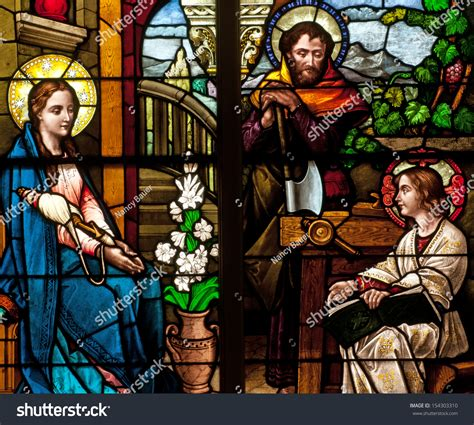 holy family of jesus and joseph stained glass window holy family jesus stock photo