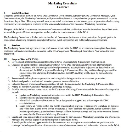 marketing consultant contract template sle marketing consultant contract