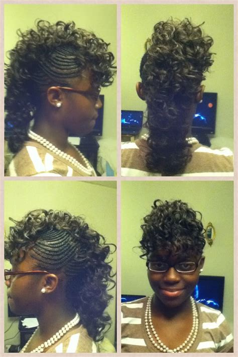 how to do mohawk sew in hairstyles mohawk with a sew in braid style creations pinterest