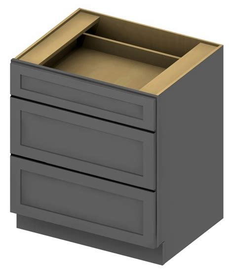 15 inch base cabinet 3db15 3 drawer base cabinet 15 inch shaker gray 1