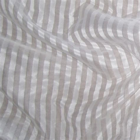 Striped Silk Fabric For Curtains White Silk Organza Stripe Renaissance Fabrics