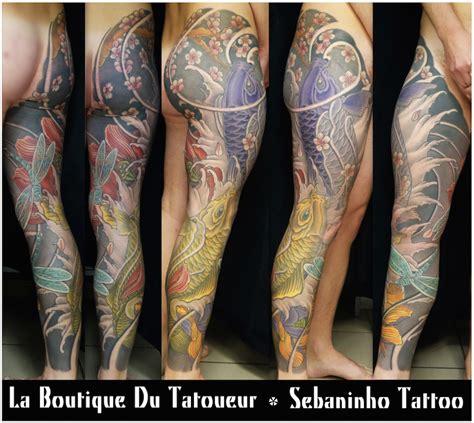 et tattoo tatouage sur jambe enti 232 re de carpes koi et lotus