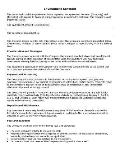 sample contract templates  microsoft word