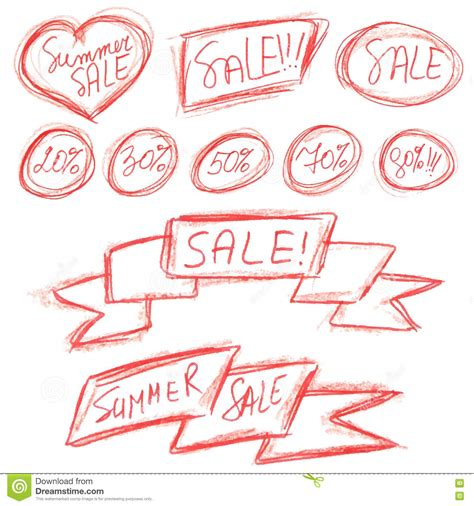 design elements in writing summer sale stickers set on white vector illustration