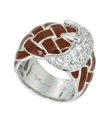 treccia brown ring by 201 toile country silver