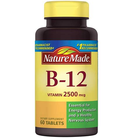 Vitamin B12 Nature Made Vitamin B 12 Tablets 2500 Mcg 60