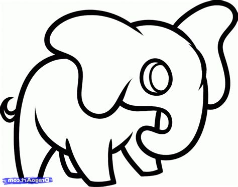 simple drawing elephant easy draw pencil and in color