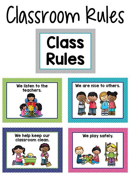 printable school rules poster pre k classroom rules class rules poster class rules