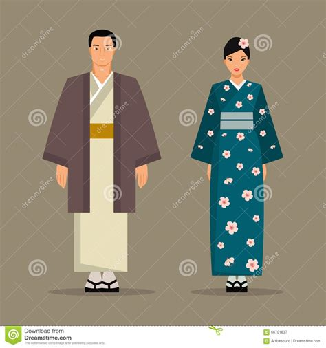 Traditional Japanese Costume the japanese national costume vector illustration stock