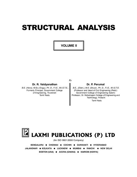 Download Structural Analysis Vol II by R Vaidyanathan And