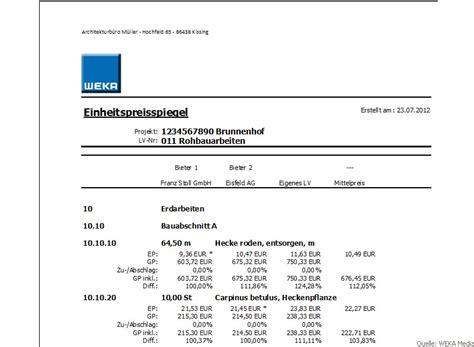 Muster Rechnung Bauleistungen Bau Ausschreibung Vergabe Software Muster Lv