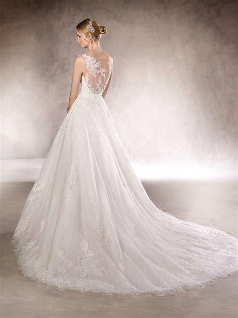 2017 la sposa a line lace appliqued wedding dress