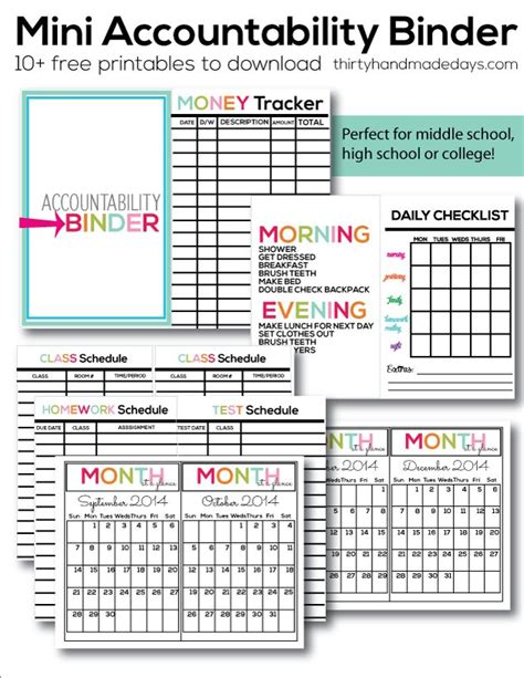 printable planner for mini binder mini accountability binder budget binder for kids and