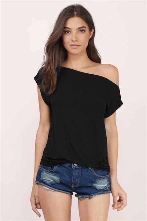 Outshoulder Shirt black shirt one shoulder shirt black