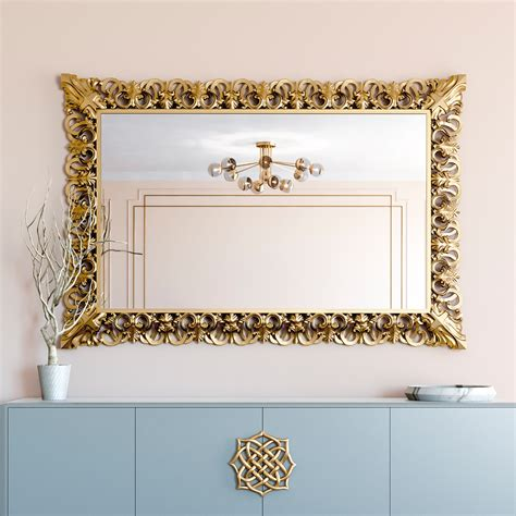 Gold Bathroom Mirrors Large Rectangular Gold Leaf Carved Mirror Juliettes Interiors
