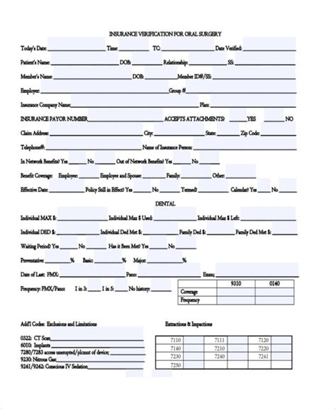 insurance verification form template 23 insurance verification form templates