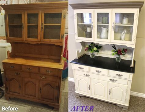 Jill Janine's Hutch   Before and After. White color is a custom mix of Annie Sloan decorative