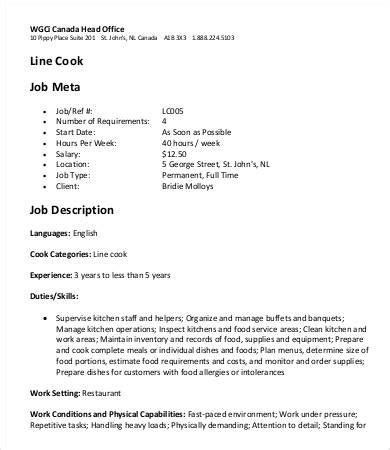 7 line cook description templates pdf doc free