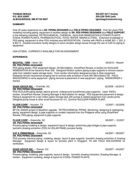 Pds Piping Designer Cover Letter by Piping Design And Resume And Intergraph