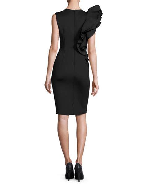 Sleeveless Ruffle Sheath Dress jovani sleeveless ruffle trim crepe sheath dress black