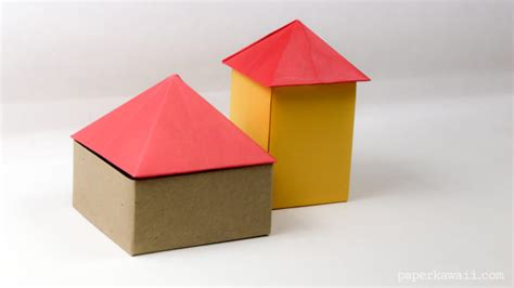 Origami Paper House - origami square pyramid house lid paper kawaii