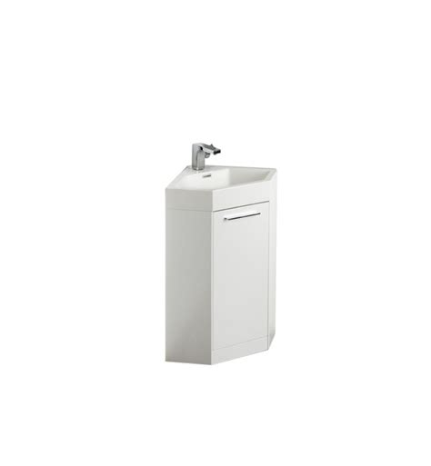 18 inch white modern corner bathroom vanity with optional