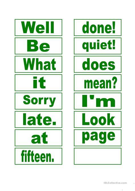 sentence patterns classroom games make sentences classroom language worksheet free esl