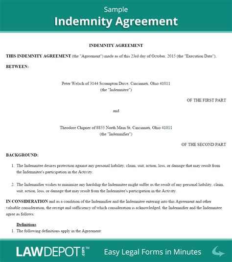 indemnity agreement template hold harmless agreement template us lawdepot