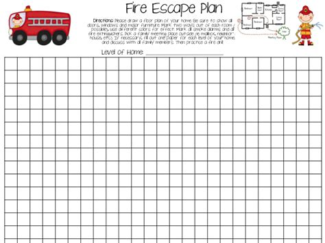fire escape plan template for home house design ideas