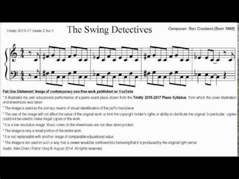 60s swing sheet tcl piano 2015 2017 grade 2 no 9 ben crosland the