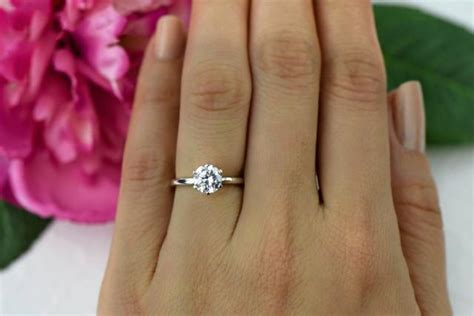 One Left! 1 Ct 14k White Gold, 6 Prong Solitaire Ring