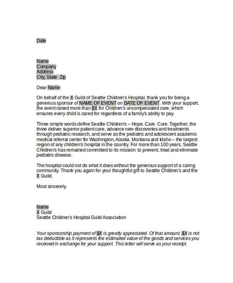 Corporate Sponsorship Letter For Mba by 45 Thank You Letter Exle Templates Free Premium