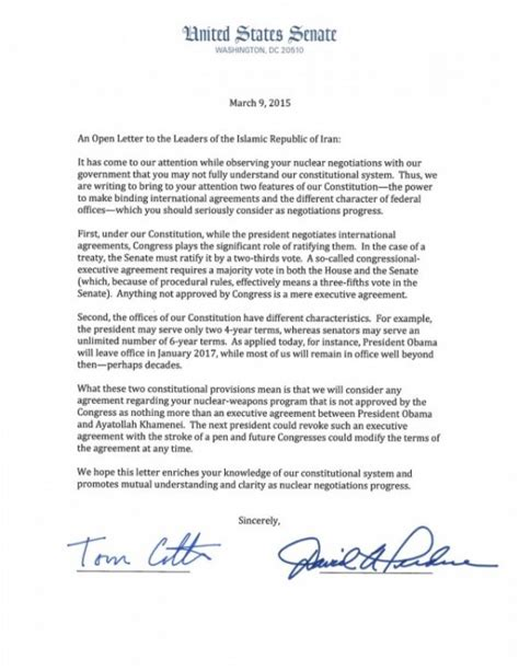 Whitehouse Petition Iran Letter 47 republican senators letter to iran here it is
