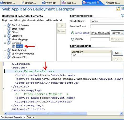 url pattern in web xml for jsp jsf tutorial 5 running the application