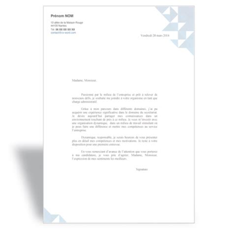 Exemple Lettre De Motivation Assistant Administrative Modele Lettre Administrative Word