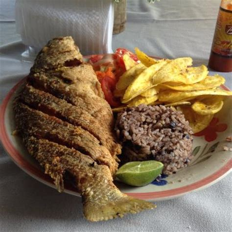fried fish with fried plantains, rice/beans and salad