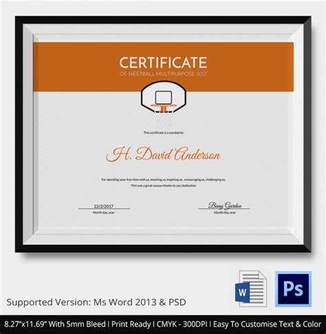 5 netball certificates psd word designs design