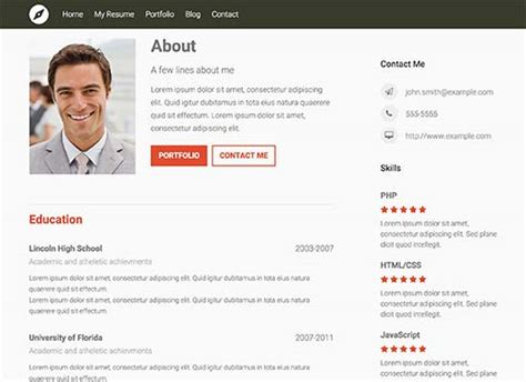 personal resume website exle 26 best resume themes for your cv 2017