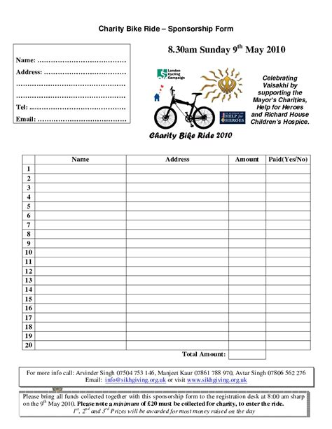 sponsorship forms templates charity bike ride sikhgiving org uk charity bike ride