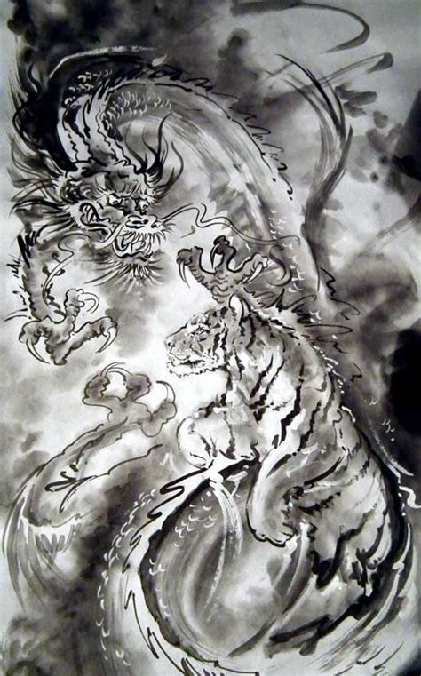dragon and tiger tattoo and tiger sumi e unknown artist tribal dragons