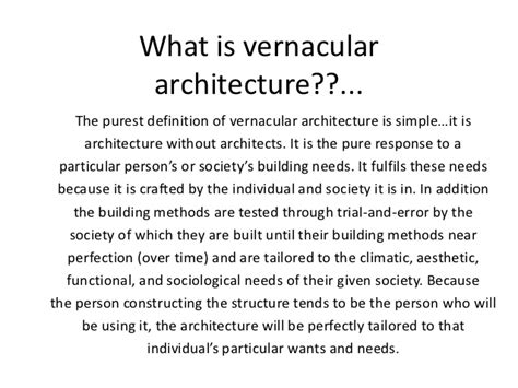 what is the meaning of architecture vernacular architecture